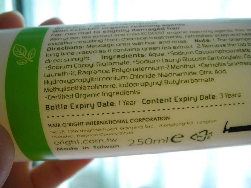 SGVegan_O'right Green Tea shampoo color