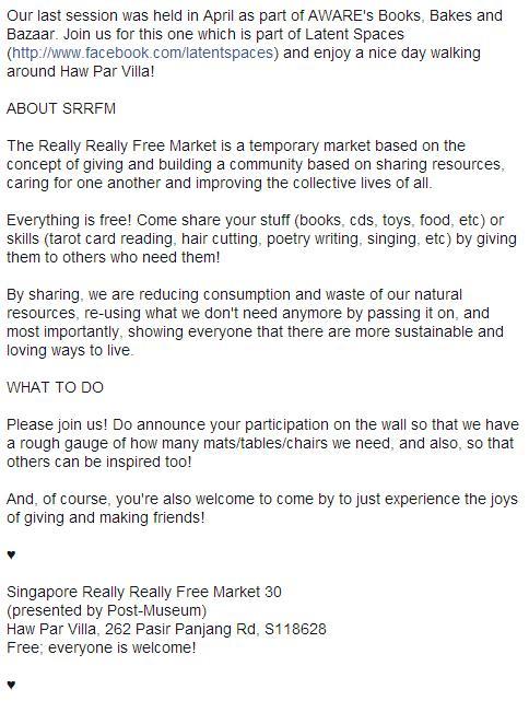 SGVegan_Singapore Really Really Free Market