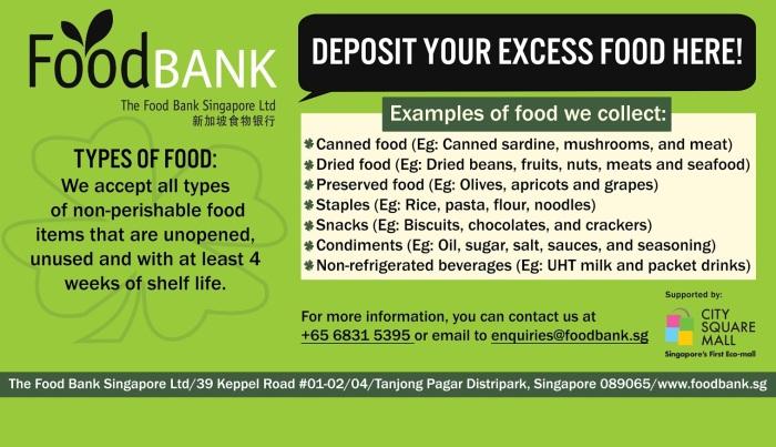 SGVegan_Food Bank Box at City Square Mall - Acceptable Food Items
