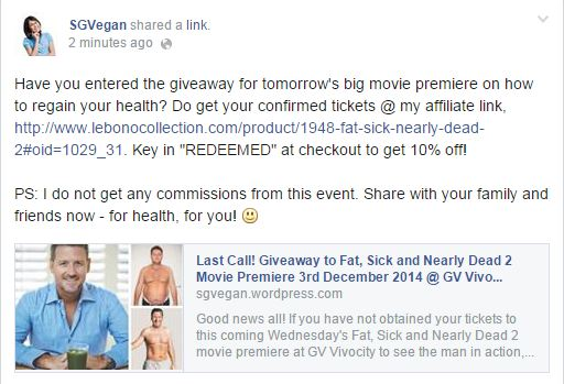 Get 10% off your Fat, Sick and Nearly Dead 2 movie premiere happening tomorrow 7pm!