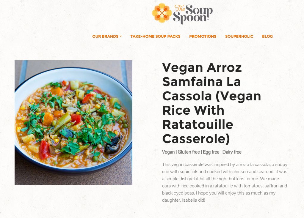 The Soup Spoon Vegan Rice with Ratatouille Casserole – Latest Spain Offering