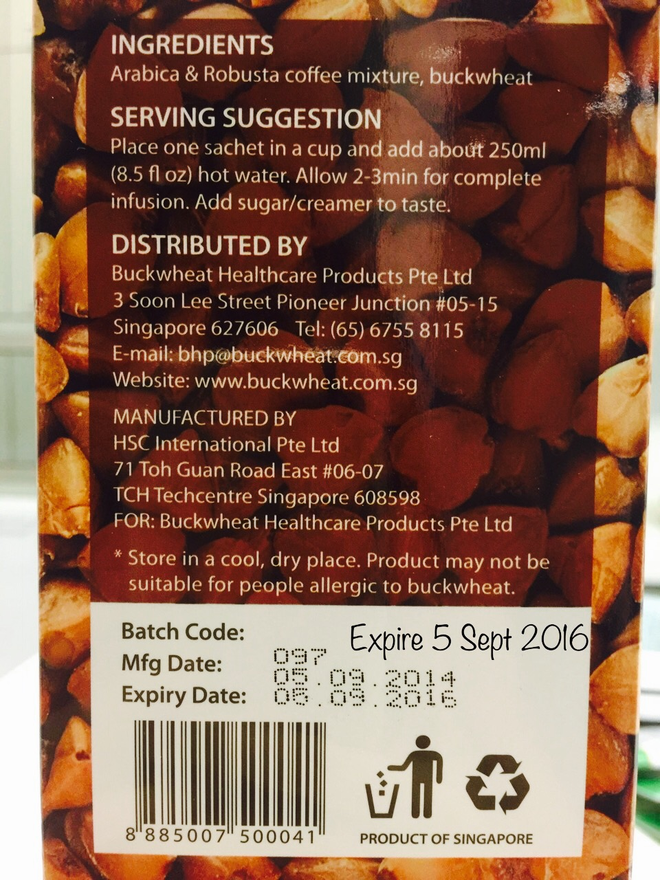 SGVegan_Buckwheat Coffee Expiry